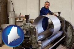 maine map icon and a sheet metal worker fabricating a metal tube