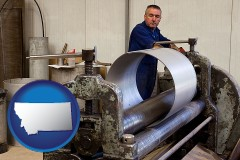 montana map icon and a sheet metal worker fabricating a metal tube
