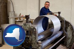 new-york map icon and a sheet metal worker fabricating a metal tube