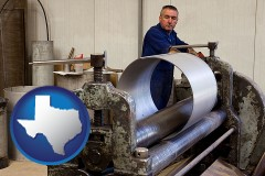 texas map icon and a sheet metal worker fabricating a metal tube