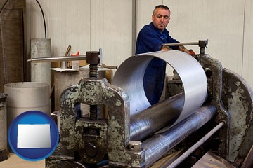a sheet metal worker fabricating a metal tube - with Colorado icon