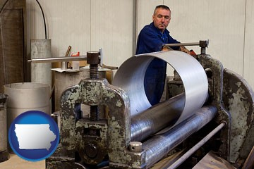a sheet metal worker fabricating a metal tube - with Iowa icon