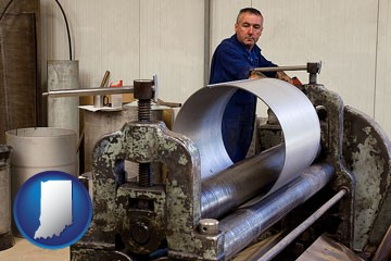 a sheet metal worker fabricating a metal tube - with Indiana icon