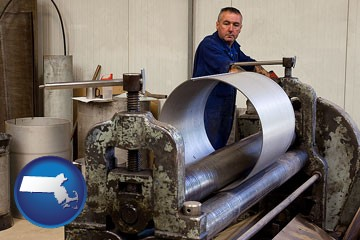 a sheet metal worker fabricating a metal tube - with Massachusetts icon
