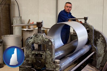 a sheet metal worker fabricating a metal tube - with New Hampshire icon