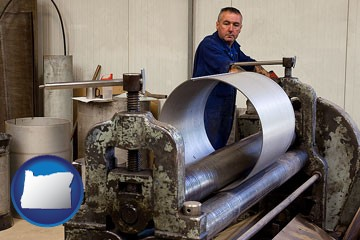 a sheet metal worker fabricating a metal tube - with Oregon icon