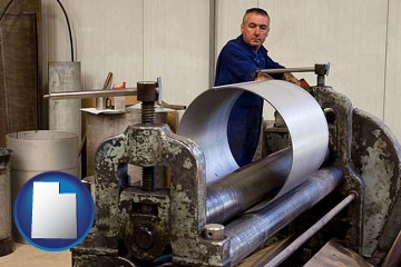 a sheet metal worker fabricating a metal tube - with Utah icon
