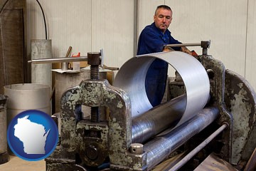a sheet metal worker fabricating a metal tube - with Wisconsin icon