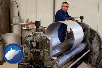 a sheet metal worker fabricating a metal tube - with West Virginia icon